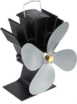 Heaviesk Ventilador Chimenea de Potencia térmica Ventilador térmico Estufa de leña alimentada por Calor Ventilador para Estufa de leña Chimenea Ventiladores ecológicos de Cuatro Hojas: Amazon.es: Deportes y aire libre