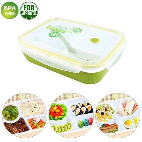 Kids Lunch Box, Childrens Bento Box, Lunch Containers for Kids Adults, Food Container with Spoon and Soup Bowl 4 Compartment Leak Proof (Green)