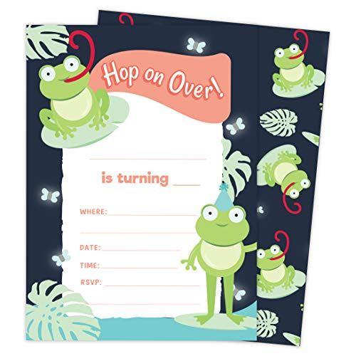 Frog Style 2 Happy Birthday Invitations Invite Cards (25 Count) With Envelopes & Seal Stickers Vinyl Girls Boys Kids Party (25ct)