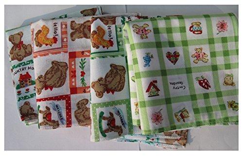 21pcs 10x10inch, Cartoon Printed Children Cotton Handkerchiefs, Cotton - Childs Hankie