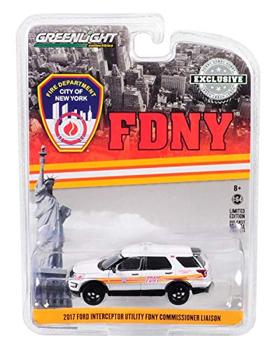Ford Utility Trucks - Greenlight 2017 Ford Interceptor Utility White FDNY (Official Fire Department City of New York) Commissioner Liaison \Hobby Exclusive\ 1/64 Diecast Model Car