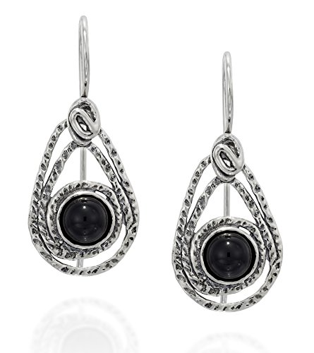 (Teardrop 925 Sterling Silver Earrings with Black Onyx and Secure Backs Chic & Elegant Women's Jewelry)