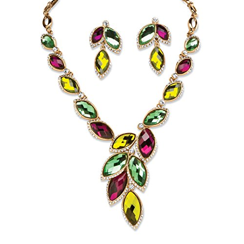Palm Beach Jewelry Yellow Gold Tone Earrings and Necklace Set, Multi-Color Marquise Lucite, 18