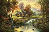Van Eyck Pastoral Mountain Landscape Prints on Canvas Linen Pictures Oil Painting Trees for Dining Room Art Wall Decor Thomas Paintings Disne Prints Unframed HD-103
