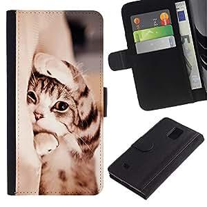 EuroCase - Samsung Galaxy Note 4 SM-N910 - kitten shorthair manx sleepy paw cat - Cuero PU Delgado caso cubierta Shell Armor Funda Case Cover