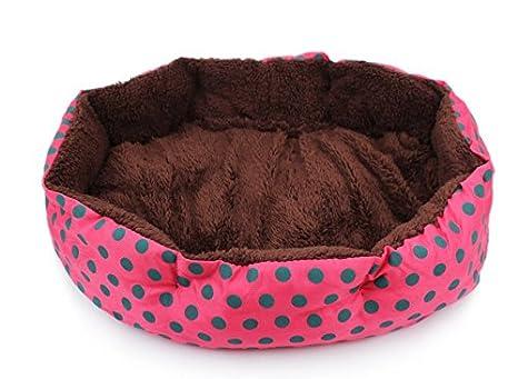 Cdet Cama para mascotas redonda o de forma oval dimple fleece nesting perro cueva para gatos y perros pequeños lavable cama de peluche,Rosa roja: Amazon.es: ...