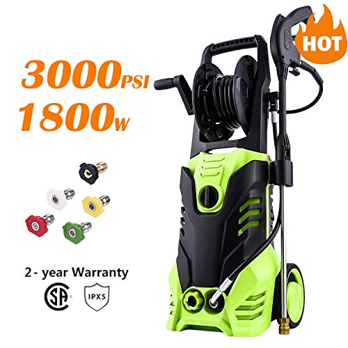 Homdox 3000PSI Electric Pressure Washer, Max Pressure 1.8GPM High Power Washer Reel Style Cleaner Machine with 1800W Rolling Wheels & 5 Interchangeable Nozzles-Green