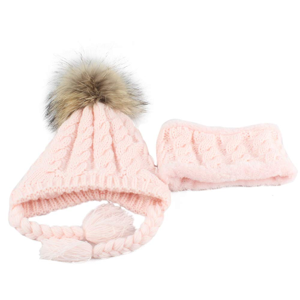 kaiCran Kids Baby Knitted Beanie Hair Ball Girls Boys Hat Cap+Scarf Winter Warm Sets