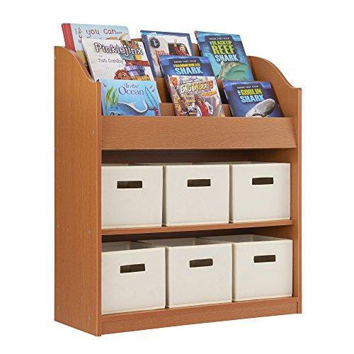 Book and Bin Storage Center - Kids Toy Organizer Bookcase