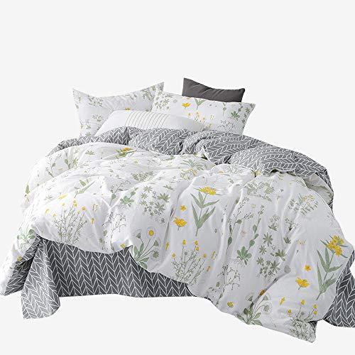 BuLuTu Floral Print Cotton Kids Bedding Cover Sets Full for Boys Girls Reversible Nature Queen Duvet Cover Sets White Zip Zipper Closure Premium Soft Comforter Cover,NO - Vintage Sheets Bed Queen