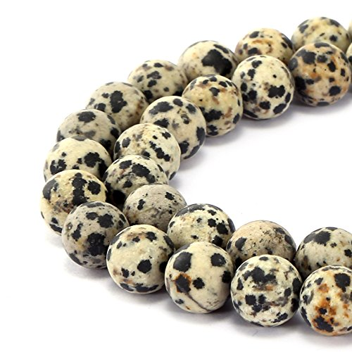 - BRCbeads Gorgeous Natural Dalmatian Jasper Gemstone Smooth Matte Round Loose Beads 8mm Approxi 15.5 inch 45pcs 1 Strand per Bag for Jewelry Making