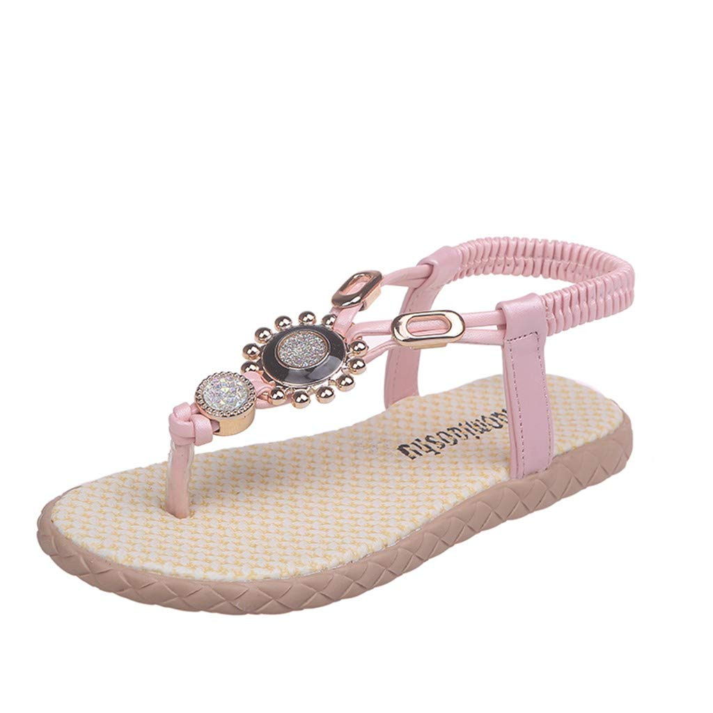 Kimnana Kids Shoes,Children's Girls Bohemian Rhinestone Metal Flippers Beach Shoes Princess Shoes Sandals Baby Shoes Pink