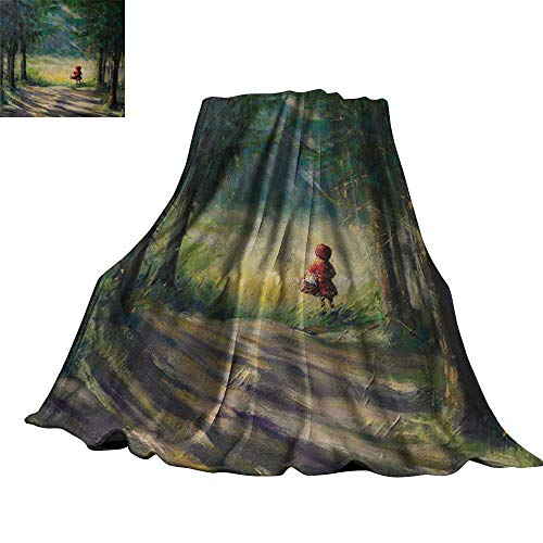 Angoueleven Kids,Plush Throw Blanket Watercolor Ancient Traditional Story Illustration Girl with Red Dress Brush Strokes Throw Rug Sofa Bedding 90