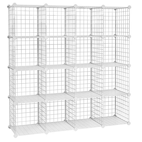 SONGMICS Metal Wire Cube Storage,16-Cube Shelves Organizer,Stackable Storage Bins, Modular Bookcase, DIY Closet Cabinet Shelf, 48.4