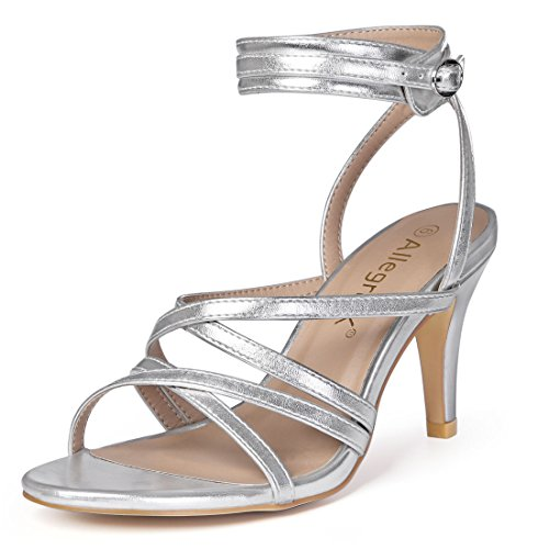 Allegra K Women's Cross Ankle Strap Silver Heels - 7 M US (High Heel Sandals Silver)
