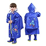 LOHOME Unisex Kids Raincoat - Children's Hooded Raincoat Teens Jacket Space Poncho with School Bag Cover Rainwear (L (Fit 3.94~4.75ft Height), Blue Rocket)