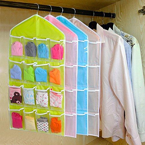 Sameno 16 Pockets Clear Over Door/Wardrobe Hanging Bag Socks Bra Underwear Rack Hanger Storage Organizer (Pink (Big))
