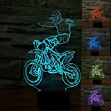 3D Cross-Country Motorcycle Night Light Table Desk Optical Illusion Lamps 7 Color Changing Lights LED Table Lamp Xmas Home Love Brithday Children Kids Decor Toy Gift