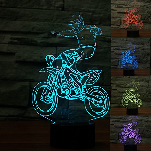 Desk Maple Country (3D Cross-Country Motorcycle Night Light Table Desk Optical Illusion Lamps 7 Color Changing Lights LED Table Lamp Xmas Home Love Brithday Children Kids Decor Toy Gift)