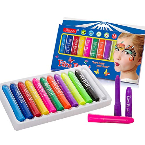 MiniKIKI Face Paint Crayons, Face Painting Kits, 12 Cols, Body Paint, Kids Face Painting, Washable Face Paint, Kids Makeup, Non Toxic Body Painting, Ideal for Halloween, Costumes, Birthday Parties -