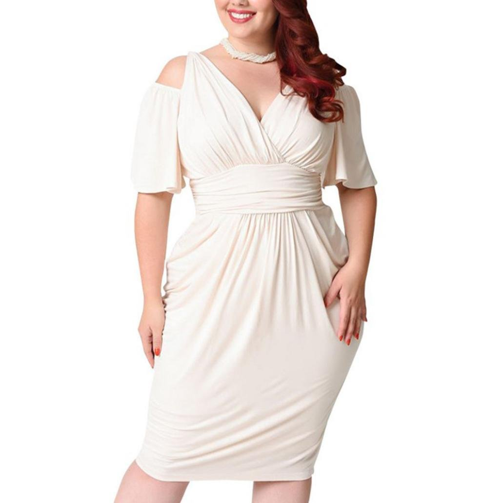 Casual Short Sleeve Dress SanCanSn Fashion Womens Plus Size V-Neck Strapless Sexy Solid Loose Dress(White,L)