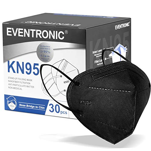 KN95 Facial Masks, Eventronic Disposable Masks, Breathable and Soft, Five Layers 30 Packs Black