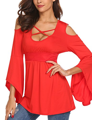 Womens Cold Shoulder Bandage Criss Cross Bell Long Sleeve High Waist Casual Sexy Pleated Blouse Tops