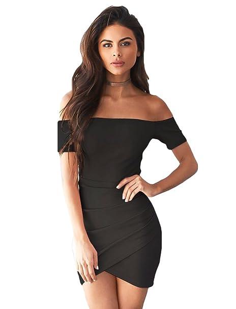 Mode Spielraum am besten authentisch Sentao Damen Schulterfreies Kleid Bodycon Kurz Cocktailkleid Festlich  Partykleid