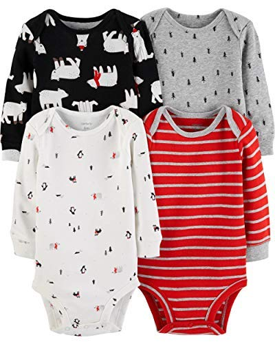 (Carter's Unisex Baby 4-Pack Long-Sleeve Bodysuits (9 Months, Boys Red/Multi))