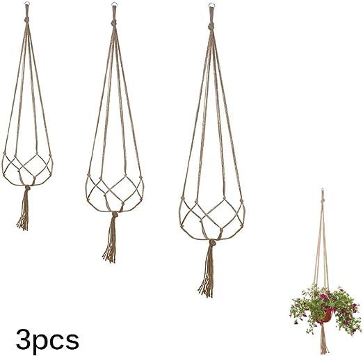 Prenine Colgante De Pared Cestas De Macetas Florero Titular SOGA De Algodón Tejida A Mano Neta De Jardín para Oficina En Casa (Juego De 3, 3 Tamaños): Amazon.es: Jardín