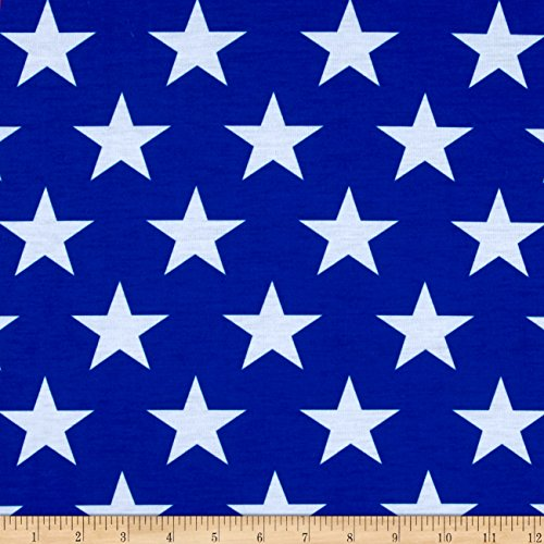 E.Z Fabric, Inc. Poly Spandex Jersey Knit Stars Print Royal/White Fabric By The Yard (Americana Stretch Skirt)