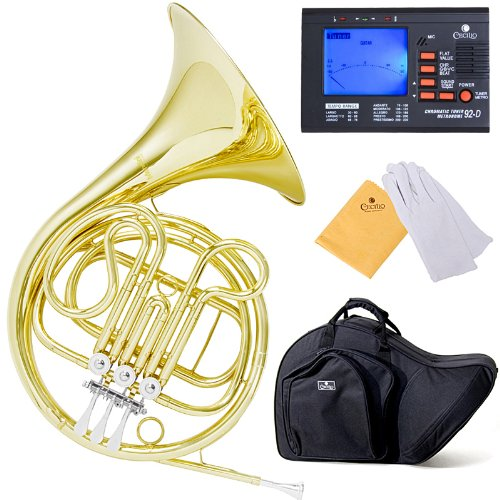 Mendini MFH-20 Single Key of F Brass French Horn Cecilio Musical Instruments MFH-20+92D