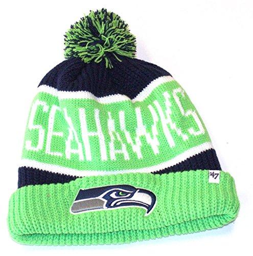 水陸両用リサイクルする理想的NFL公式ライセンス' 47ブランドシアトルシーホークスグリーンカルガリーCuff Pomビーニー帽子キャップ蓋スカル