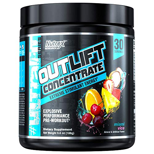 Nutrex Research Outlift Concentrate | Extreme Pre-Workout Energy | NO3-T Nitrates, Caffeine, Btaine, Choline, Tyrosine | Miami Vice | 30 Servings -