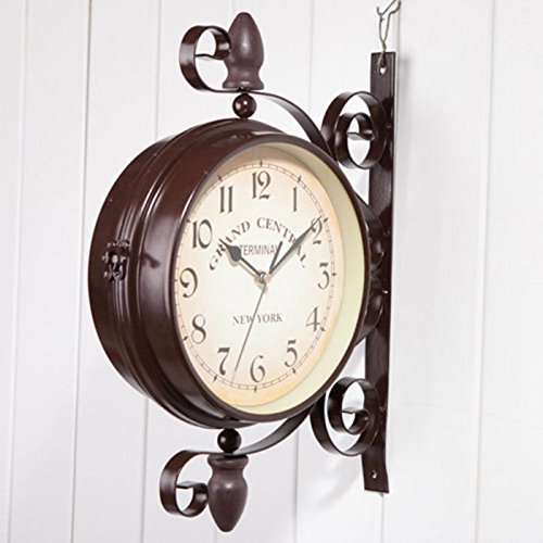 Naibang Vintage Wall Clock Double Sided Mount Station Garden Antique Retro Wall Decor (Grand Central Train Station)