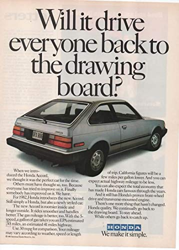 "Magazine Print Ad: 1982 Honda Accord,""Will it drive everyone back to the drawing board?"""