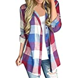 HTHJSCO Women's Roll up Sleeve Flannel Plaid Shirt, Casual Matching Color Long Sleeve Button Loose Plaid Shirt Blouse (Red, L)