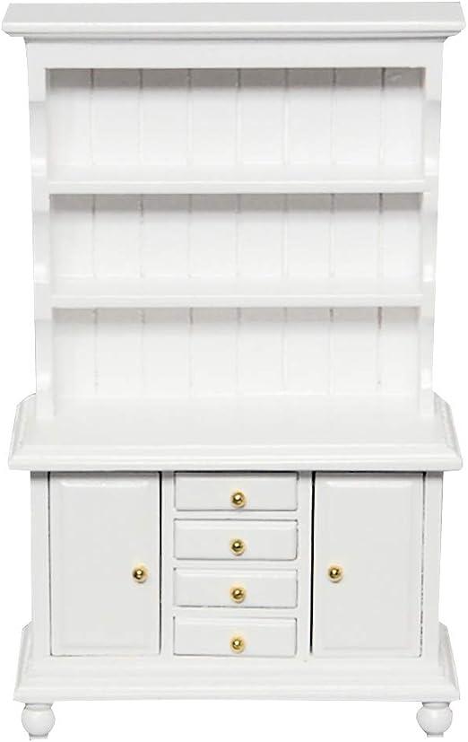 1//12 White Wood Kitchen Cupboard Cabinet Dollhouse Miniature Room Furniture