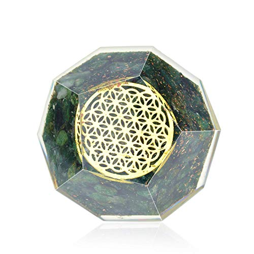 (Orgone Dodecahedron- Green Jade Orgonite Dodecahedron for healing-EMF protection- Energy Generator Crystal)