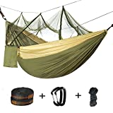 Double Camping Hammock with Mosquito Net - 2 Person Parachute Hammock Lightweight Portable Hammock with Tree Straps for Backpacking Travel Beach Hiking Garden Yard Kids Outdoor Hammocks Bug Net Tent
