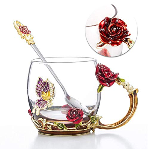 Tea Cup Coffee Mug Cups, Clear Glass Coffee Cups Tea Mugs with Spoon Set Handmade Enamel Butterfly Rose Flower,12 oz (Red Rose) Ideal for Friend Wedding Anniversary Birthday Presents ()