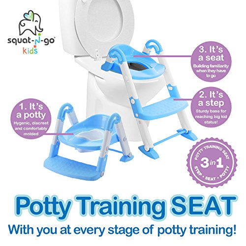 Babyloo Bambino Booster 3 in 1 - Collapsible Toilet Training Step Stool assists Your Toddler to go While They Grow! Convertible Potty Trainer for All Stages Ages 1-4 (Blue)