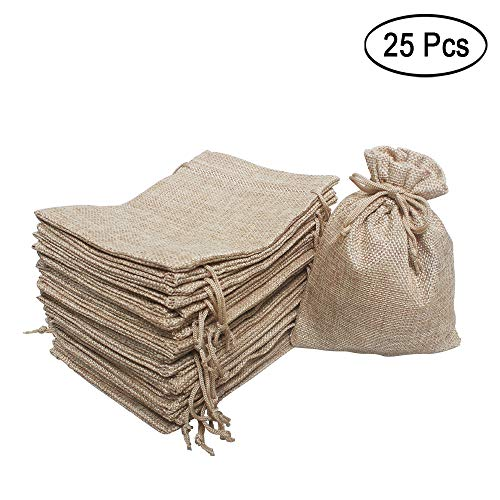 25 Pcs Burlap Bag with Drawstring Linen Burlap Pouches Gift Bags for Wedding Favors, DIY Craft, Present, Snacks 7