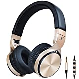 Riwbox IN5 Foldable Headphones with Microphone and Volume Control Stereo Folding Headset Strong Low Bass for iPhone iPad Smartphones Laptop Mp3/4 (Black gold)