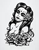 Stickerbrand Vinyl Wall Art Mexican Day of The Dead Sexy Girl Wall Decal Sticker - Black, 31'' x 21''. Easy to Apply & Removable.