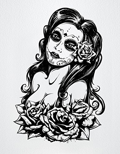 Stickerbrand Vinyl Wall Art Mexican Day of The Dead Sexy Girl Wall Decal Sticker - Black, 31