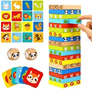TOOKYLAND Colored Wooden Blocks Stacking Board Games Tumble Tower Games with Animal Pictures for Kids Boys Gir