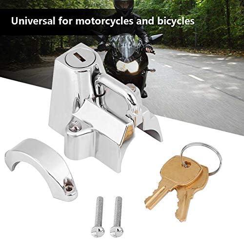 "Universal Chrome Motorcycle 7//8/"" Helmet Lock Hanger Hook /& 2 Keys Locking Set"