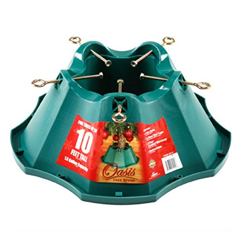 JACK-POST Oasis Christmas Tree Stand, for Trees Up to 10-Feet, 1.5-Gallon Water Capacity (Plate 9' Accent Green)