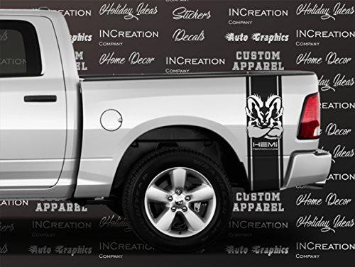 2002-2018 Dodge Ram Dakota 1500 2500 Hemi Performance Black, Red, Silver, Blue Rear Side Bed Decals, 4x4 Logo off road Stripes Vinyl Stickers, 5.7 L auto Graphics SRT hellcat, Mopar, Rebel (Black)